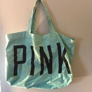 Pink teal cotton tote